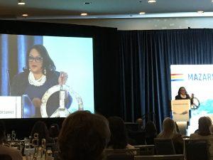 Carla Reid, keynote speaker for the Women of Water Summit that occurred on Jan. 9 in Arlington, Va., shows attendees her vision board. Mariah Walters Orose/WEF